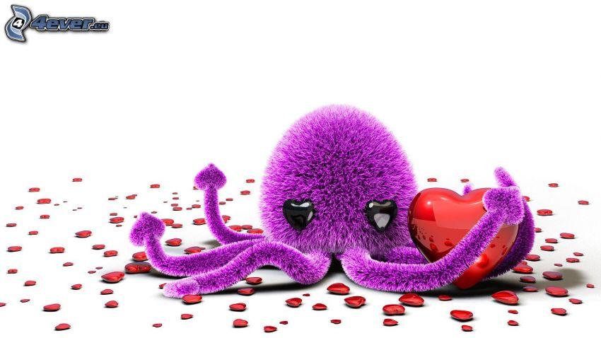 octopus, hearts