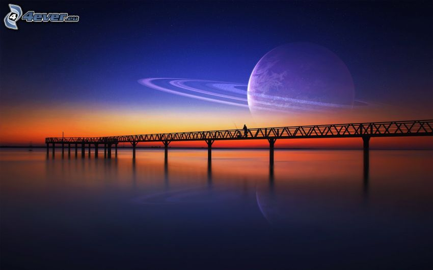 pier, pedestrian bridge, after sunset, planet