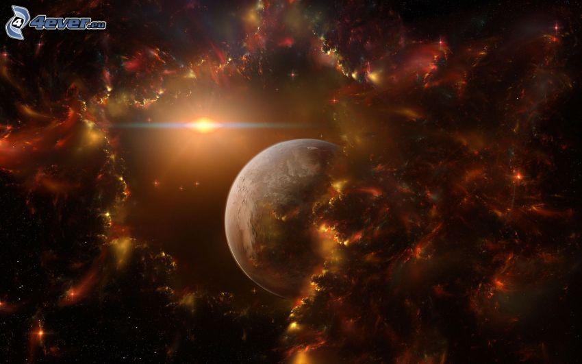 planet, sun, nebulae