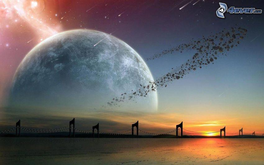 planet, sunset, bridge, asteroids, nebula