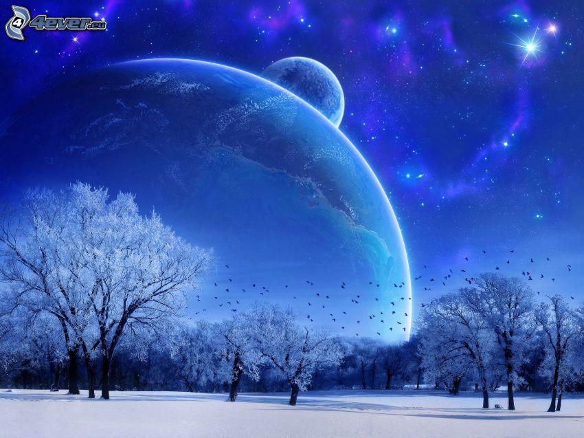planets, snowy landscape, stars, birds