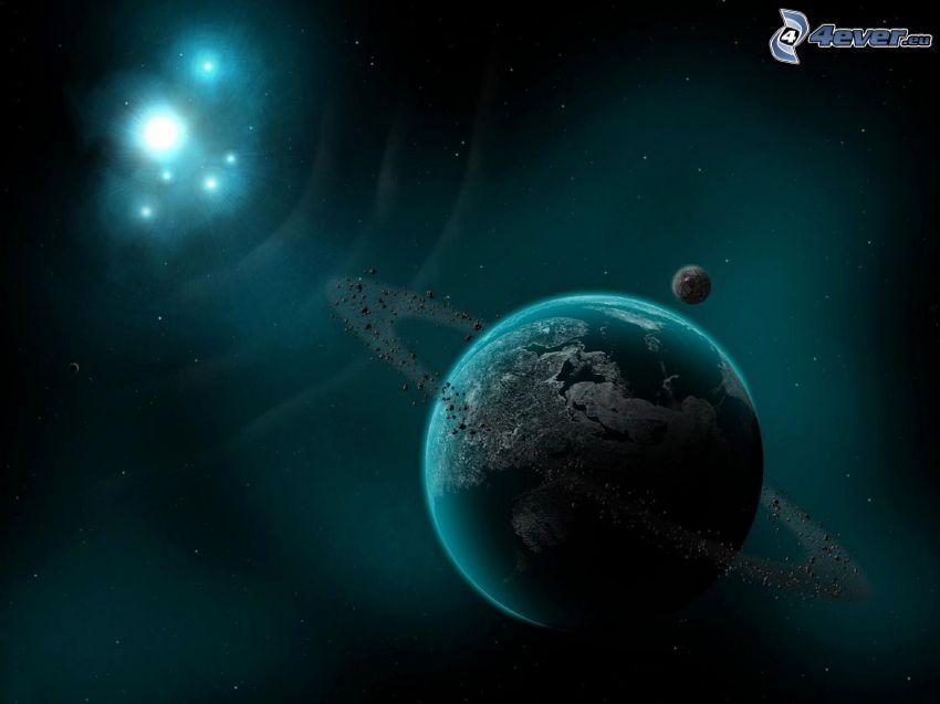 planets, stars, glow, universe