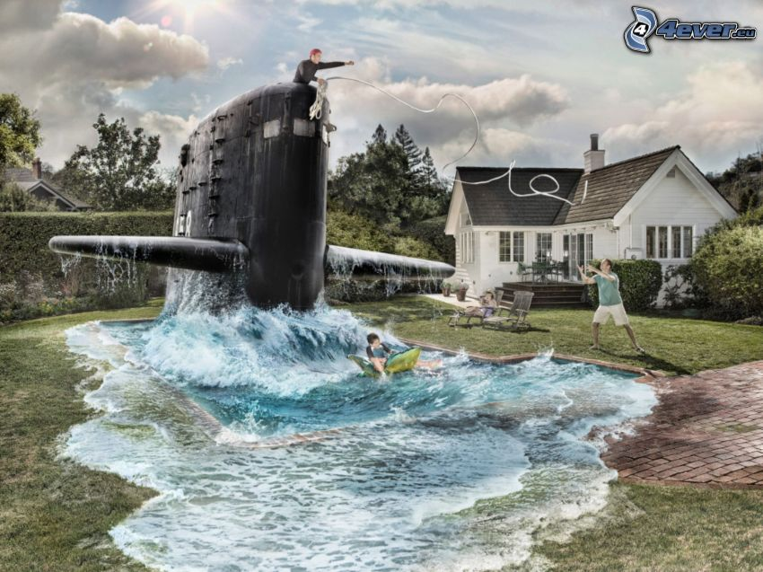 Pool, Submarine, House