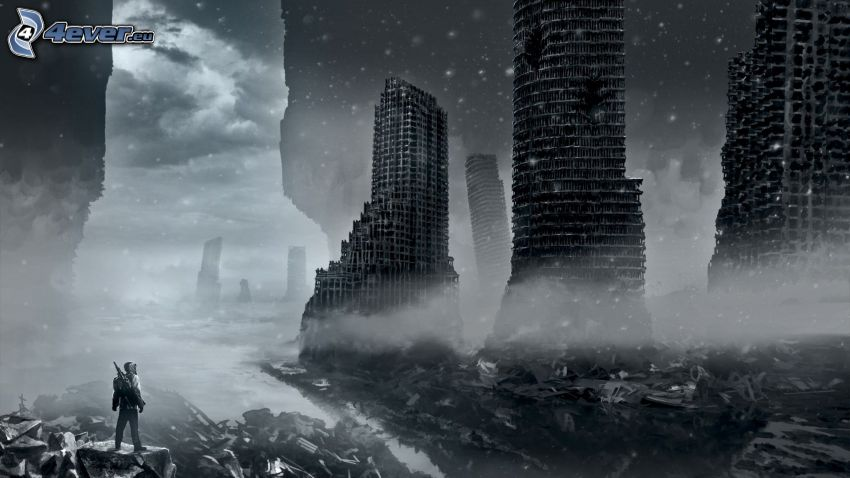 post apocalyptic city, destroyed buildings, black and white