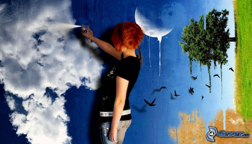 redhead, spray, picture, wall