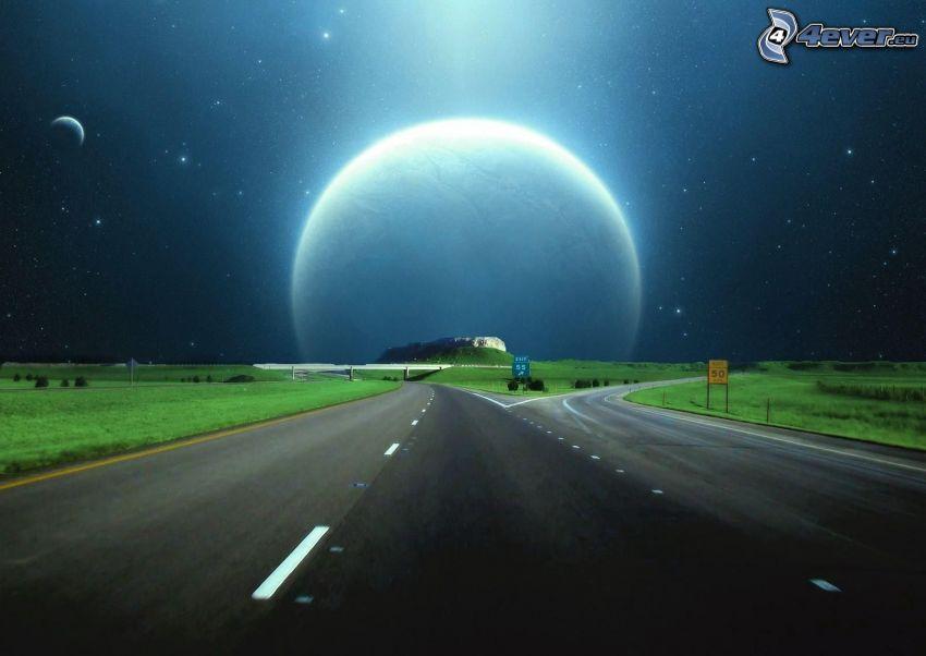 road, planet, starry sky, glow