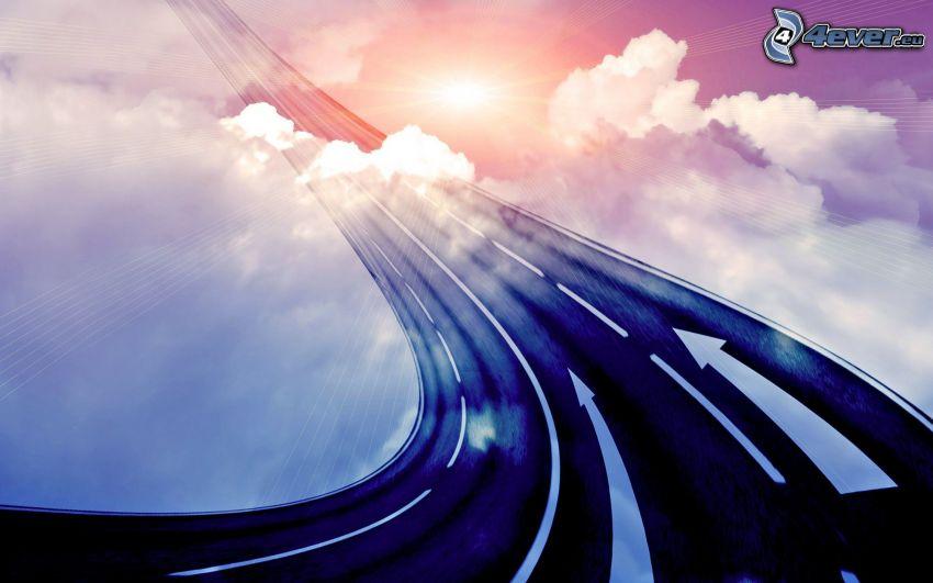 road, sky, clouds, sun