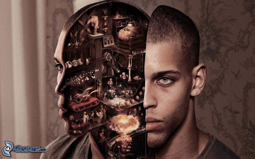 robot, man, head