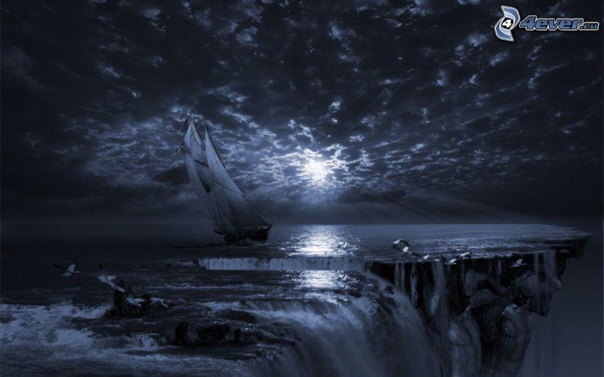sailing boat, ship, cliff, dark sunset