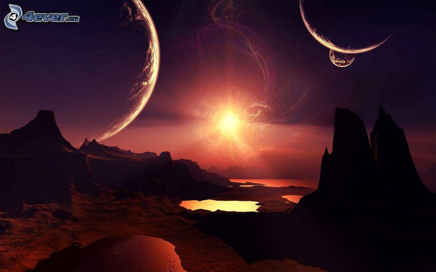 sci-fi landscape, sun, rocks, planets