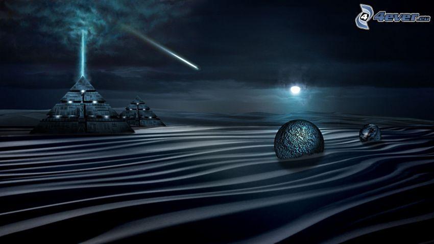 sea, balls, pyramids, moon, night