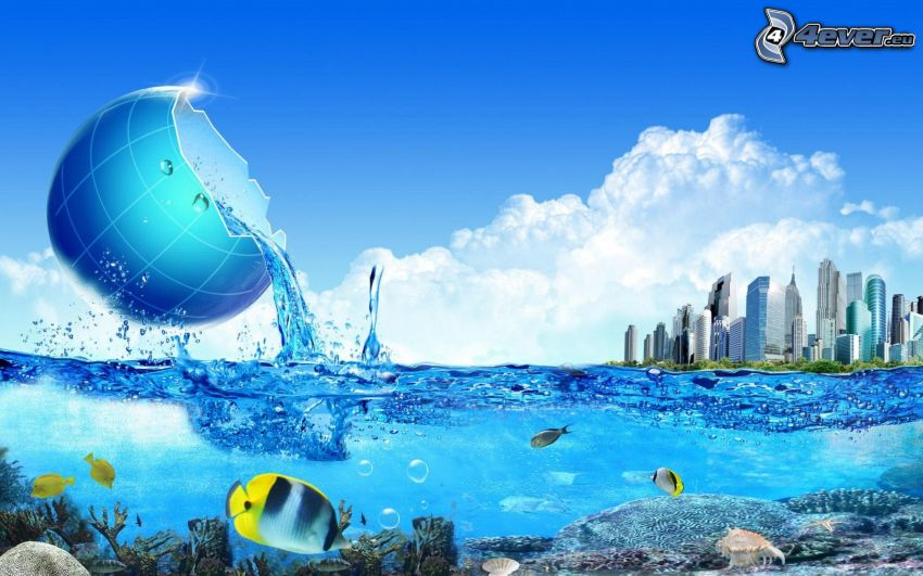 sea, skyscrapers, Earth, clouds, coral reef fish