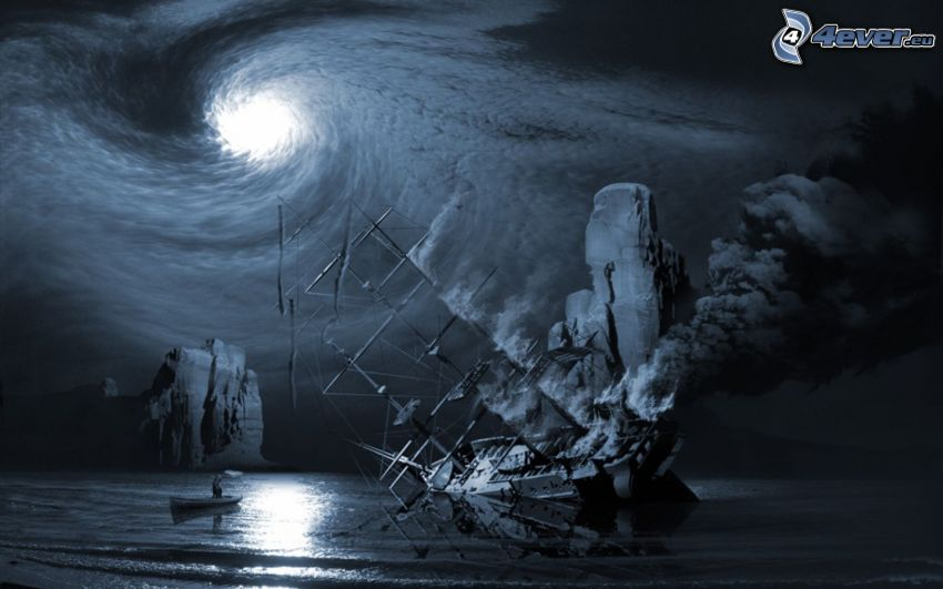 ship, vortex, sea