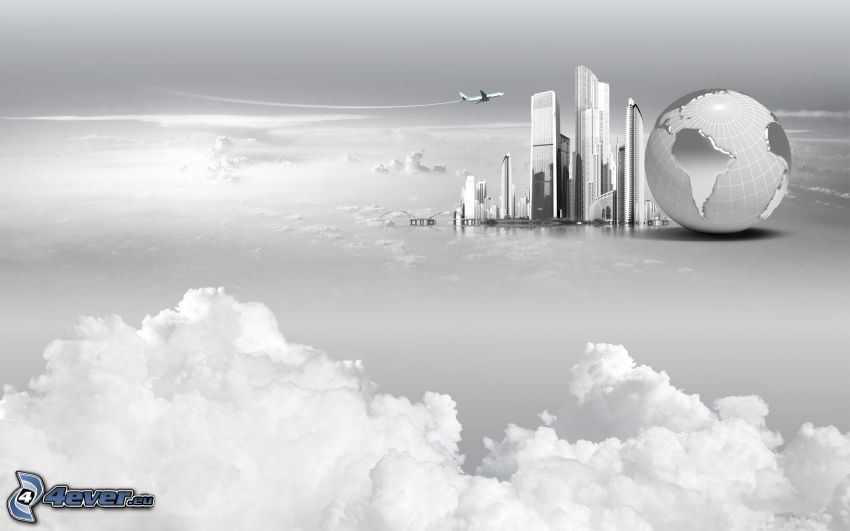 skyscrapers, Earth, clouds