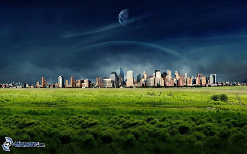 skyscrapers, meadow, moon