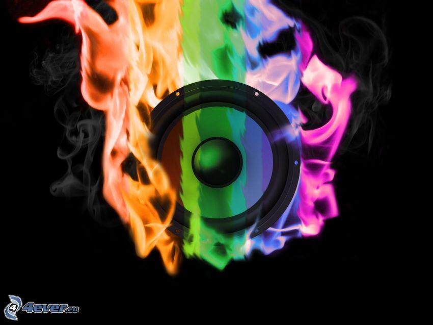 speaker, fire
