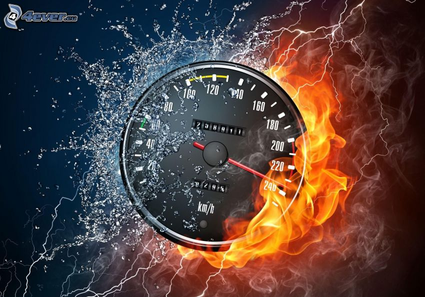 tachometer, fire and water