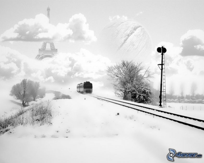 train, snow, rails, clouds, Eiffel Tower