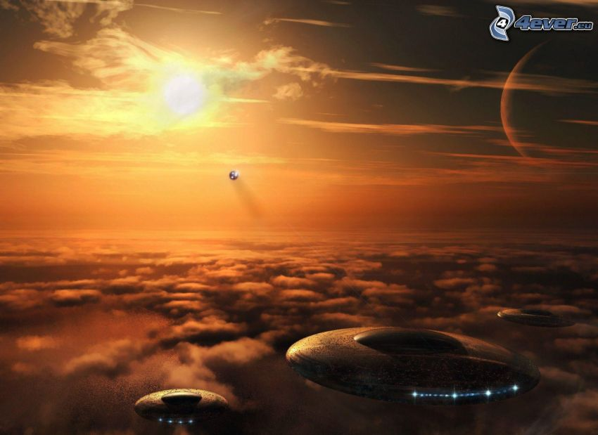 UFO, over the clouds, sun