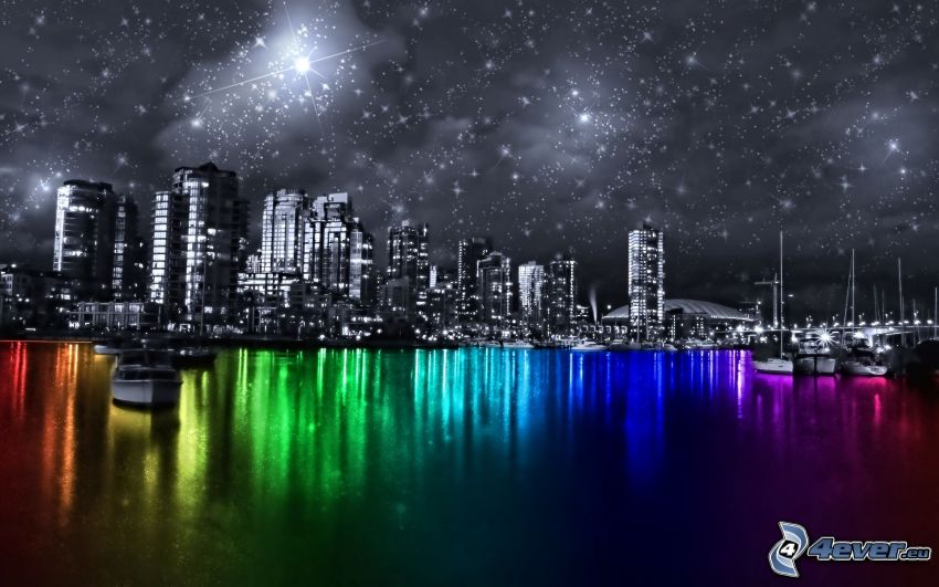 Vancouver, rainbow colors, starry sky