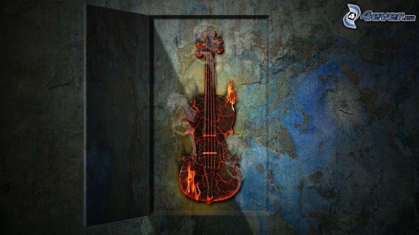 violin, fire