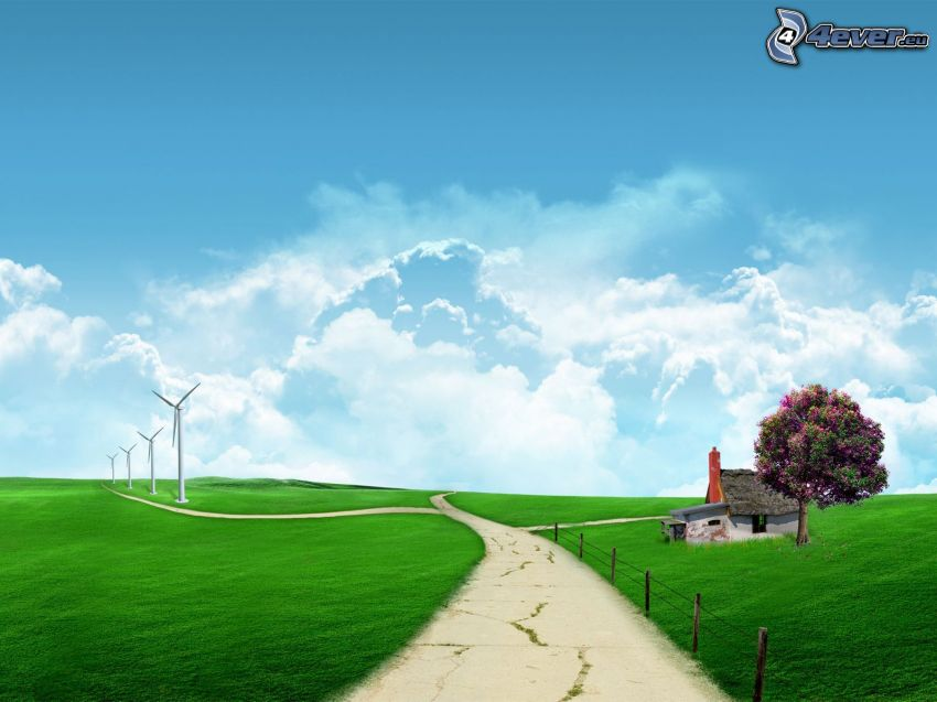 virtual meadow, road, abandoned house, tree, wind power plant