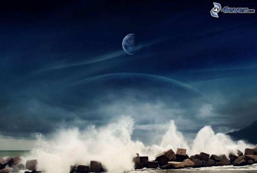 wave, rocks, planet Earth