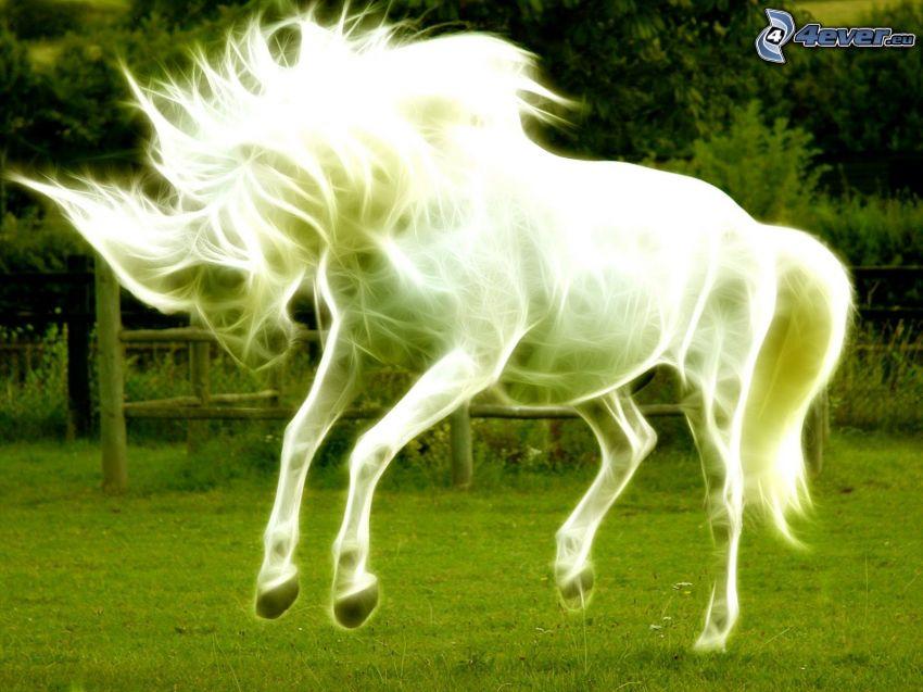 white horse, fractal animals