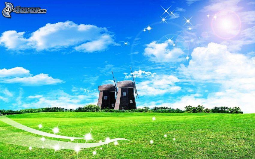 windmills, meadow, clouds
