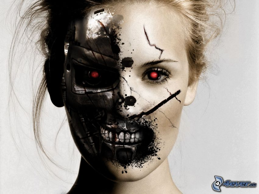 woman's face, Terminator, photomontage