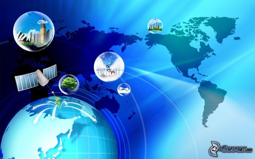 world map, bubbles, Earth, satellite