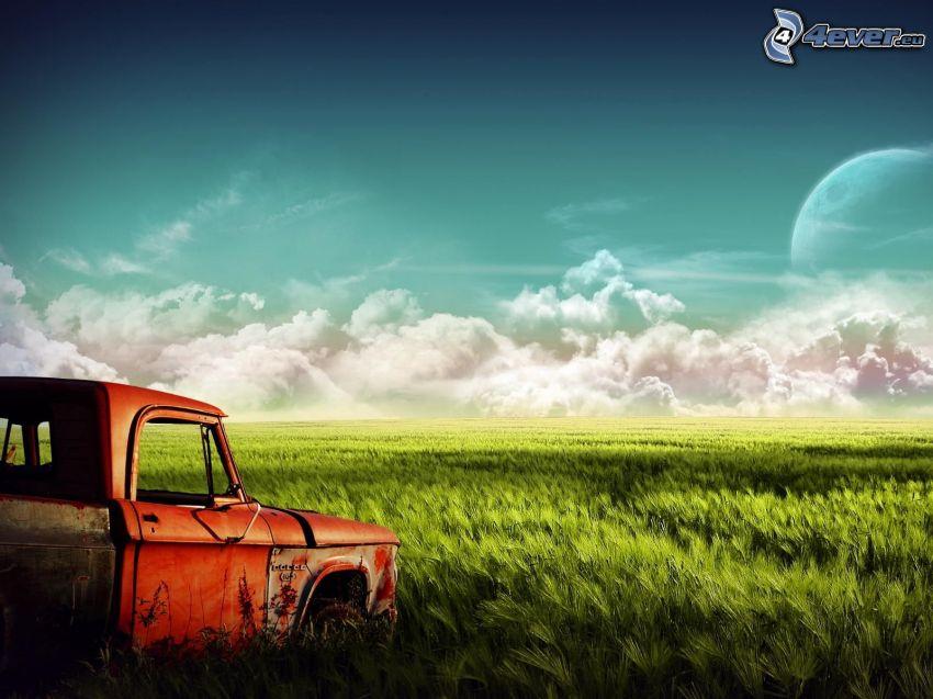 wreck, wheat field, clouds