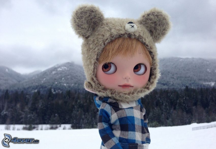 doll, snowy mountains