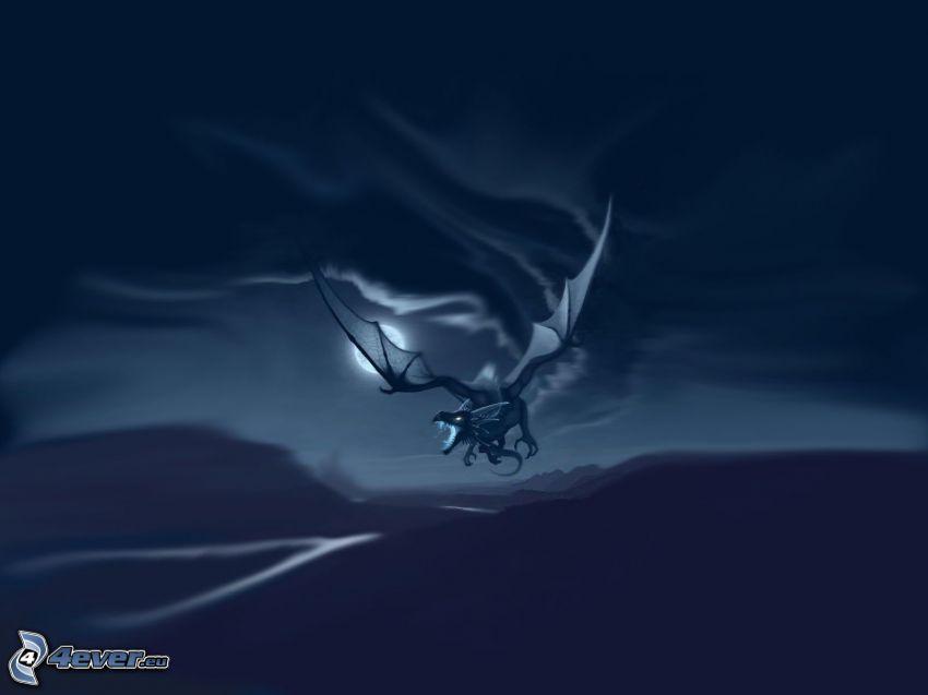 dragon, blue background