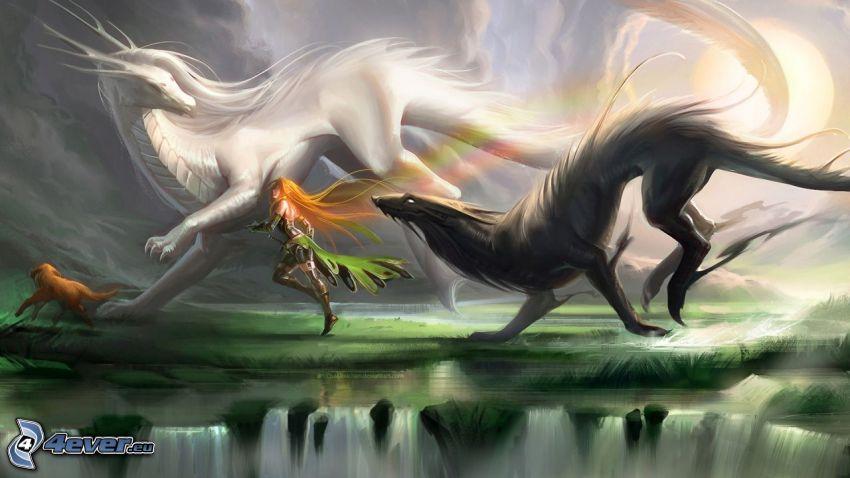dragons, cartoon woman