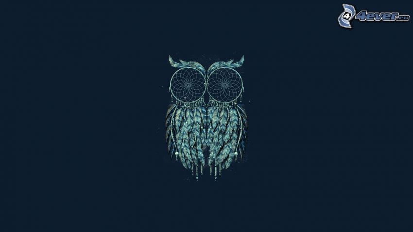 dream catchers, owl, blue background