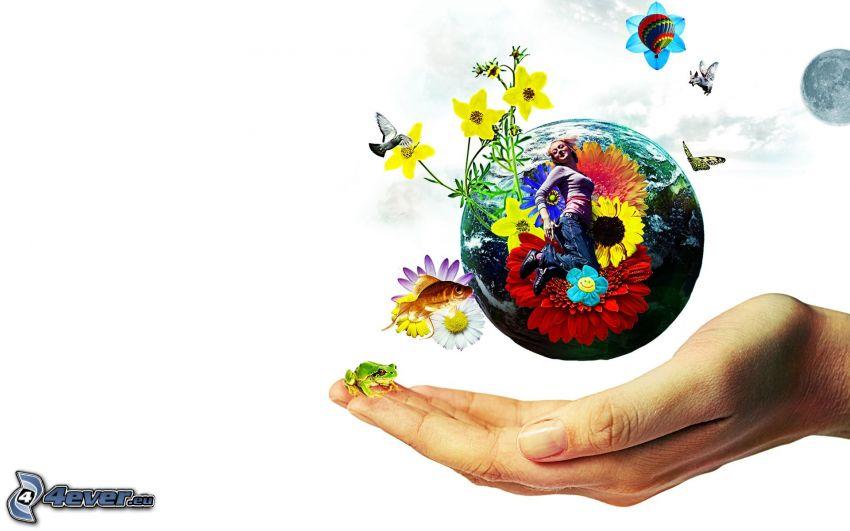 Earth, hand, cartoon flowers