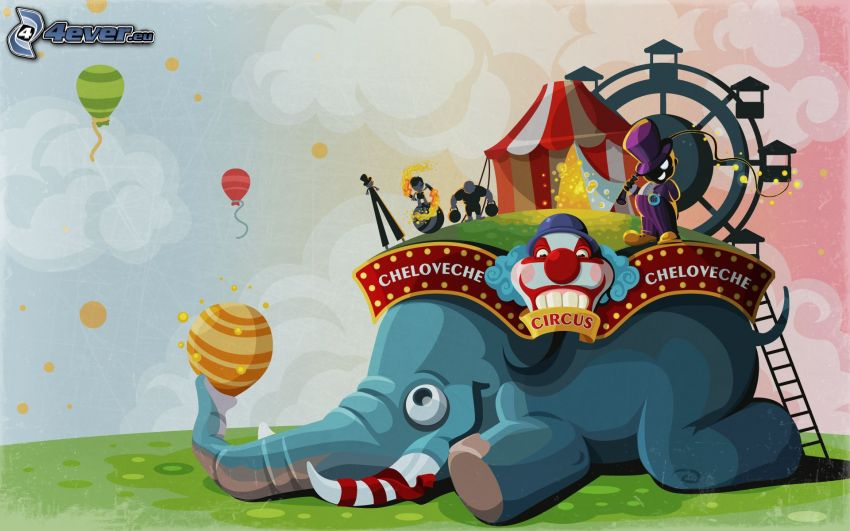 elephant, circus, hot air balloons
