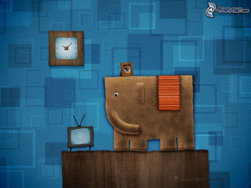 elephant, clock