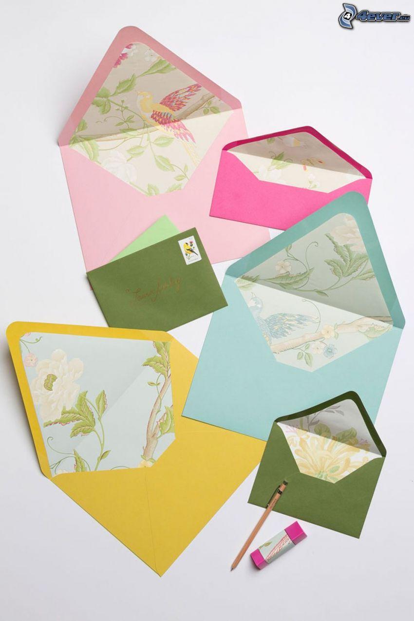 envelopes, pen