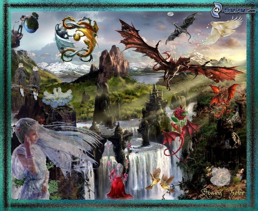 fairy tale land, dragons, collage
