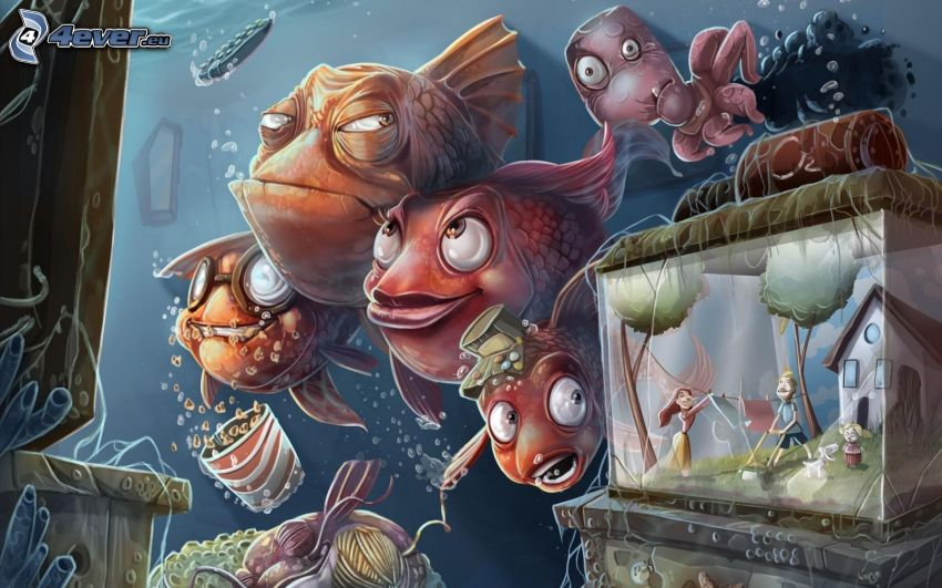 fish, aquarium, boy and girl, house, contra