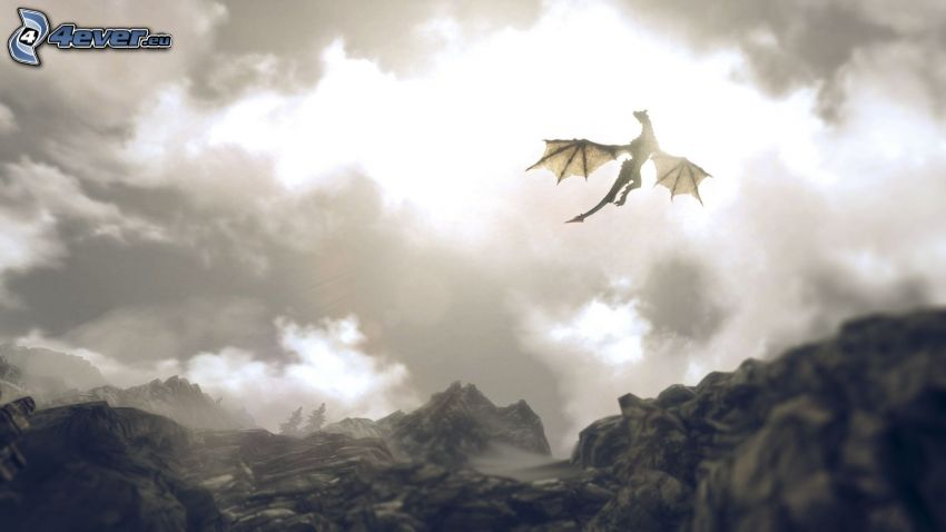 flying dragon, clouds, mountain