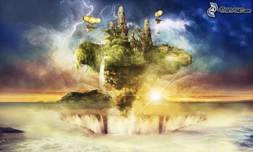 flying island, castle