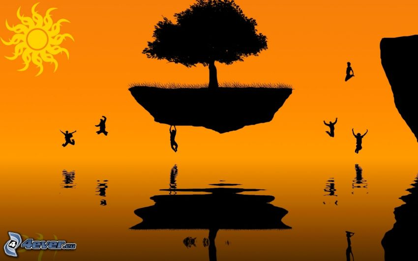 flying island, silhouettes of people, cartoon sun