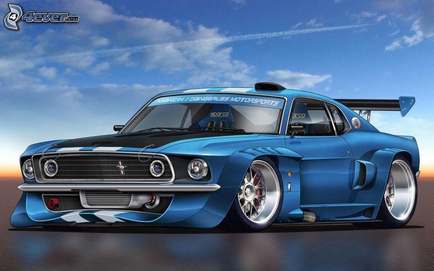 Ford Mustang, tuning, cartoon car