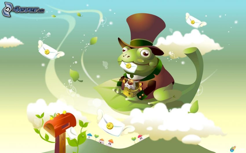 frog, hat, green leaf, clouds