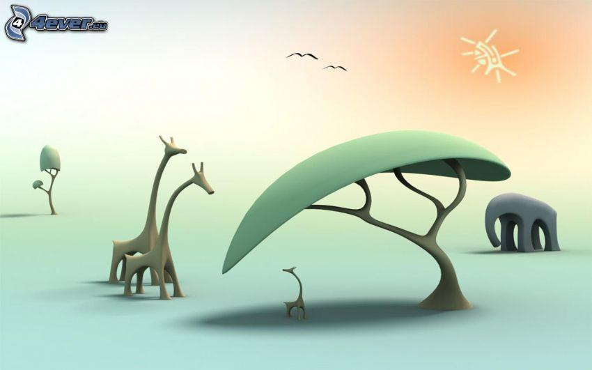 giraffes, elephant