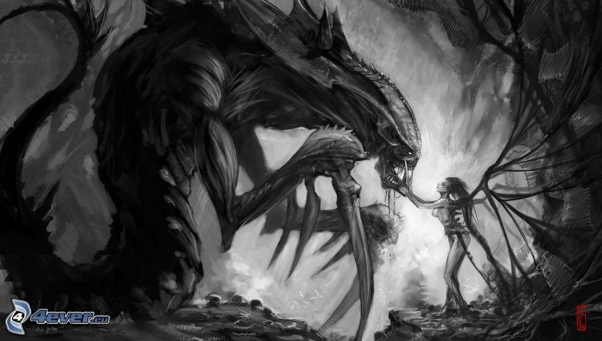 girl and the dragon, monster