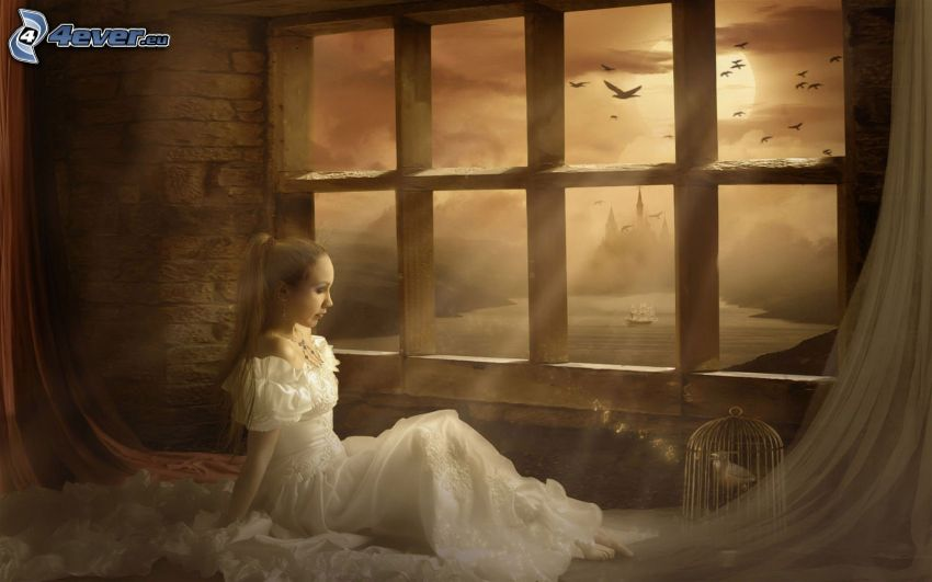 girl behind window, white dress, flock of birds